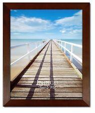 Set of 6 - Walnut Stained Wood 11x14 Frames, Glass