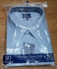 New Men XXXL 19 1/2 38 39 Small 14 1/2 34 35 Long Sleeve Dress Shirt Blue Stripe
