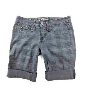 YMI Cuffed Shorts Women's Black Plaid Gray Plaid On Black Size 1
