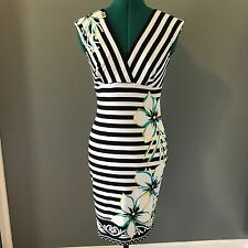Cache Women's Black White Striped Dress Floral Print Wiggle Form Fitting S Small