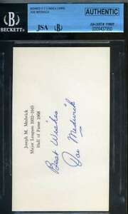 Joe Medwick Jsa Bgs Hand Signed 3x5 Index Card Authentic Autograph