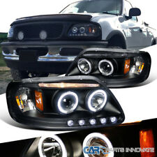 Ford 97-03 F150 Expedition Pickup Black LED Halo Projector Headlights Left+Right