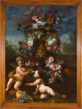 "oil painting handpainted on canvas ""Flower pot with two putti and fruit""N8360"