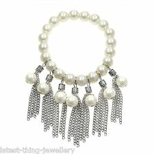 Pearl Statement Bracelet Silver White Glass Bead Stretch Design