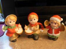 Vintage Set of 3 Homco #5564 Bisque Ceramic Christmas Children Figuri 00006000 nes