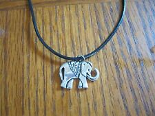 `Fashion Necklace Black Leather Cord with butterfly pendant