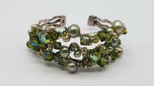 """925 Silver Pearl & Glass Bead Statement 7"""" Cuff Bracelet TT895"""