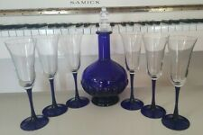 COBALT BLUE DECANTER AND SIX LUMINARC AMERICAN GOBLETS WINE WATER CHAMPAGNE