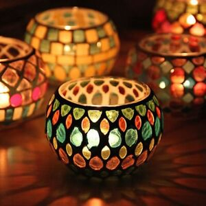Moroccan Mosaic Glass Votive Candle Holder Tea Light Candelabra Home Decor