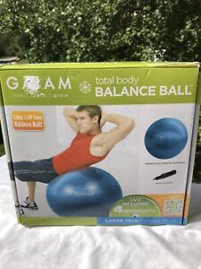 Gaiam Total Body Balance Ball Large 75 cm Blue Includes Work Out DVD/Pump