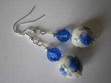 Silver Plated Drop / Dangle Ceramic Earrings - Blue Floral