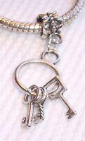 Key Ring Antique Skeleton Heart Dangle Charm for European Style Bead Bracelets