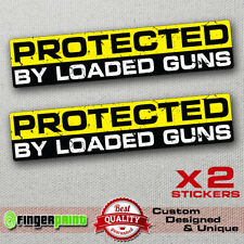 PROTECTED BY GUN sticker decal vinyl jdm bumper car 4x4 window biker race armed