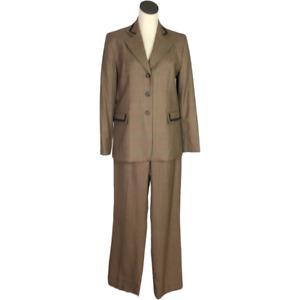 Pendleton Women 8 Plaid Wool Suit Brown 3 Button Blazer Flat Front Pant