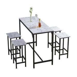 Bar Table and 4 Stools Set Breakfast Dining Table White Marble Effect Kitchen BN
