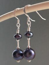 Peacock Mauve Round & Button Freshwater Pearls Sterling Silver Earrings