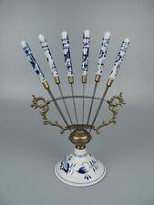 Antique German Blue Onion Porcelain Fruit Knives & Holder or Stand Set PC