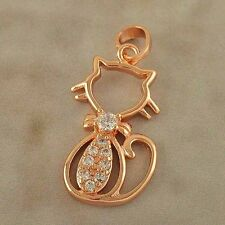 ~Lovely_9K_Rose_Gold_Filled_Crystal_CAT_Pendant Or Charm,F1764