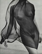 1984 Vintage 11x14 Surreal FEMALE NUDE Torso Veil Photo Gravure Plate HERB RITTS
