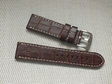 Genuine Leather Buckskin Lined Alligator Grain Watch Strap 24mm Brown by Geckota
