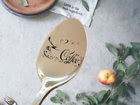 Engraved PERSONALISED Coffee spoon  Company gift Any text printing Engraved Logo