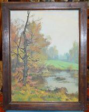 ANTICO QUADRO Giroldi Artino PAESAGGIO LAGO bosco DIPINTO olio tela PIEMONTE art