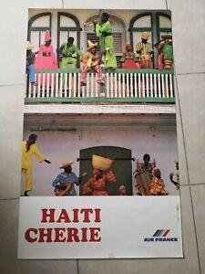 Affiche Air-France Haïti Chérie édition 1980 original très bon état aviation