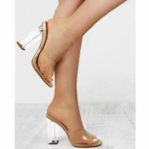 Womens Ladies Nude Clear Perspex High Heel Court Shoes See Through Party Size