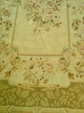 Needle Point Rug JOSEPHINE, Taupe, Hand-Cross-Stitched Wool French Style 4x6