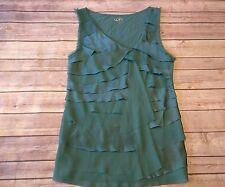 Ann Taylor Women's sz S Green Ruffle Layered  Polyester Tank Top Blouse
