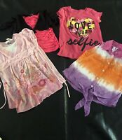 Lot of 4 Tops Girls Tie Dye Top Justice Sz 10,Route 66 Pink 10/12,Freeze T Shirt