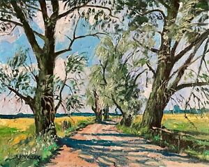 Willows Country Road Dirt Tract Impressionism Landscape OIL PAINTING IDKOWIAK