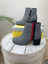 DESIGNER BODEN Houndstooth Navy/White Ankle Boots SIZE 5 EU 38 BNWB RRP£120