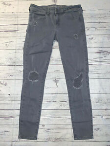 American Eagle Super Stretch Gray Twill Distressed JEGGINGS Skinny Jeans Size 6
