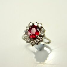 VIVID RED NATURAL RUBY Diamond Ring Engagement Anniversary 18K White Gold VS F
