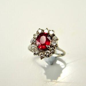 VIVID RED NATURAL RUBY Diamond Ring Engagement Anniversary 18K White Gold VS F