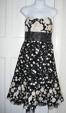 WOMENS WAREHOUSE Black/Cream Floral Bandeau /Boob Tube Dress Size-UK-10/Eur-38