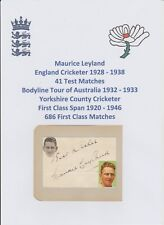 Maurice LEYLAND Inghilterra Giocatore di Cricket ceneri Bodyline Tour 1932-33 RARA firmato a mano