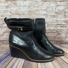 Tory Burch Primrose Wedge Boots Black Leather Fur Womens Size 9 Heel Shoes