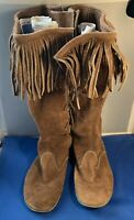 Vintage BUCKSKIN LEATHER Moccasins Native Tribal Boots Hand Sewn