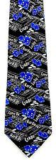 Lucky 7 Craps Mens Necktie Casino Game Gambling Dice Chips Black Neck Tie New