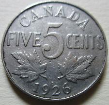 1926 Far 6 Canada Five Cents Coin. VF KEY DATE NICKEL (RJ673)
