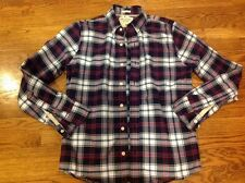 Abercrombie & Fitch Flannel Shirt Muscle Fit Plaid Blue White Red M NWOT