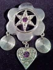 Rhinestones Silver Tone Star Heart Dangle Military Style Brooch Pin Badge Purple