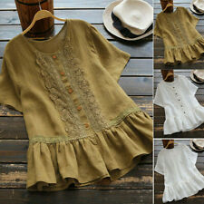 Women Summer Beach Cotton Linen Lace Ruffle Blouse Button Down T Shirt Baggy Top