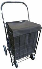 Folding Shopping Grocery Storage Cart Extra Large Trolley Basket w/ Black Liner