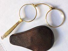 Art déco Lorgnette Klappbrille Leder  Etui  Brille um 1900 blaue  Emaille  A