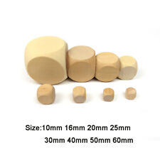 Wooden Blank Dice Cube Plain Unpainted Six Sided 10mm 16 20 25 30 40 50 60mm
