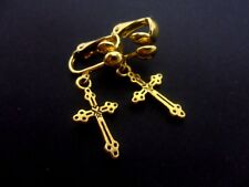 A PAIR OF CUTE LITTLE  GOLD COLOUR  DANGLY CROSS  CLIP ON  EARRINGS. NEW.
