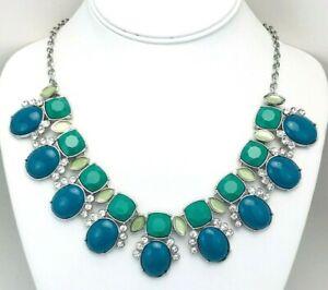 Lia Sophia Silver Tone Blue Green Cabochon Rhinestone Statement Necklace